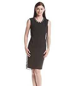 Connected® Jeweled Neckline Scuba Dress