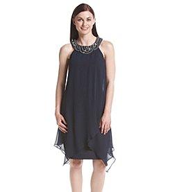 Sangria™ Beaded Neckline Flyaway Dress
