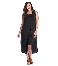 Connected® Plus Size Split Front Overlay Dress