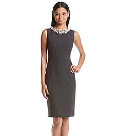 Calvin Klein Faux Pearl Neckline Sheath Dress