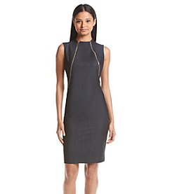 Calvin Klein Highneck Sheath Denim Dress