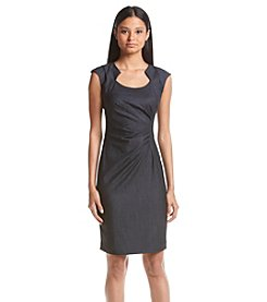 Calvin Klein Side Tucked Denim Sheath Dress