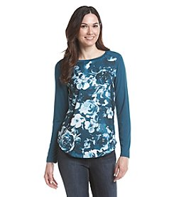 Ruff Hewn GREY Floral Charmeuse Top