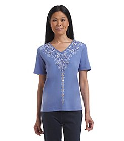Alfred Dunner® Cyprus Embroidered V-Neck Knit Top