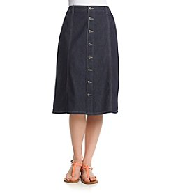 Studio West Short Button Front Denim Skirt
