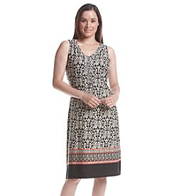 Notations® Sleeveless V-Neck Print Dress
