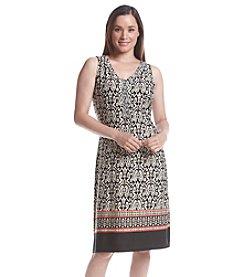 Notations® Sleeveless V-Neck Print Dress