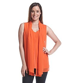 Notations® V-Neck With Chiffon Overlay Top