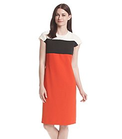 Kasper® Color Block Stretch Crepe Dress