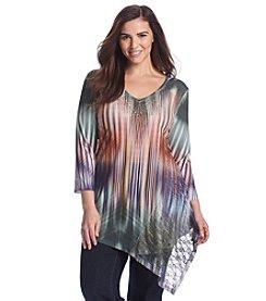 Oneworld® Plus Size Embellished V-Neck Tunic
