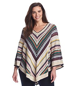 Democracy Plus Size Multi Stripe Open Stitch Poncho