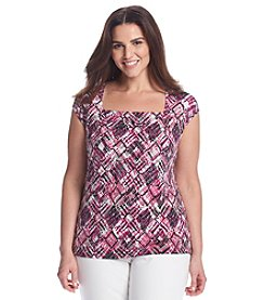 Kasper® Plus Size Diamond Print Cami