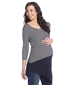 Three Seasons Maternity™ Striped And Solid Asymmetric Top
