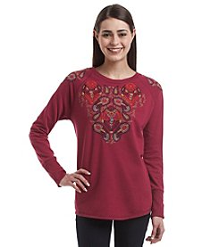 Ruff Hewn Petites' Embroidered Sweatshirt