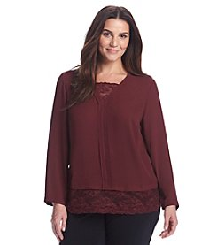 Ruff Hewn GREY Plus Size V-Neck Lace Hem Top