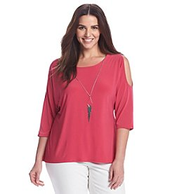 Notations® Plus Size Solid Cold Shoulder Knit Top