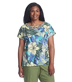 Alfred Dunner® Plus Size Cyprus Tropical Print Knit Top