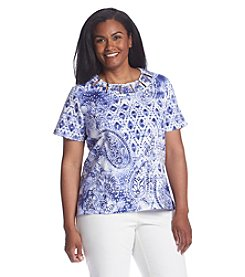 Alfred Dunner® Plus Size Cyprus Paisley Print Knit Top