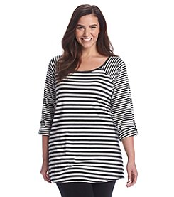 Calvin Klein Performance Plus Size Roll Sleeve Scoop Neck Top