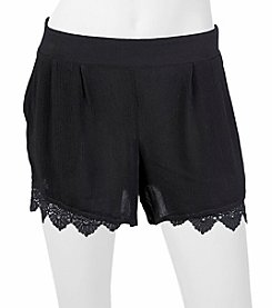 A. Byer Solid Lace Trim Shorts
