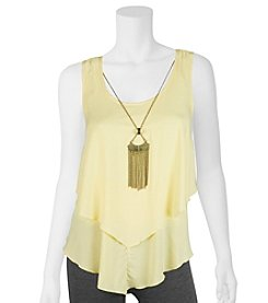 A. Byer Tiered Layer Tank With Necklace