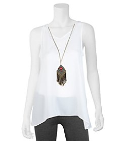A. Byer Flutter Back Tank With Necklace