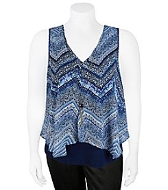 A. Byer Printed Popover Top With Necklace