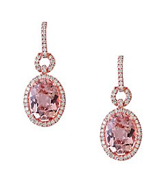 Effy® Blush Collection Morganite And 0.42 Ct. T.W. Diamond Earrings In 14K Rose Gold