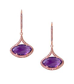 Effy® Viola Collection Amethyst And 0.38 Ct. T.W. Diamond Earrings In 14K Rose Gold