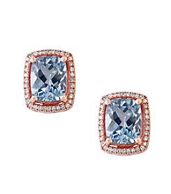 Effy® Aquarius Collection Aquamarine And 0.22 Ct. T.W. Diamond Earrings In 14K Rose Gold