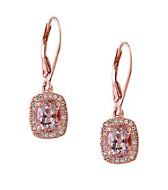Effy® Blush Collection Morganite And 0.19 Ct. T.W. Diamond Earrings In 14K Rose Gold