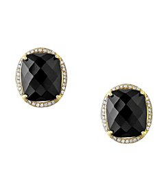 Effy® Eclipse Collection Onyx And 0.19 Ct. T.W. Diamond Earrings In 14k Yellow Gold