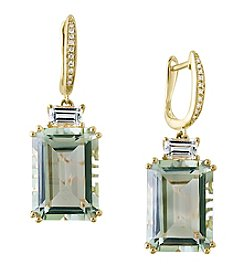 Effy® Gemma Collection Green Amethyst Earrings In 14K Yellow Gold