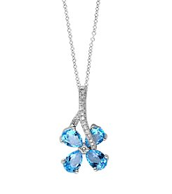 Effy® Ocean Bleu Collection Blue Topaz And 0.10 Ct. T.W. Diamond Pendant In 14k White Gold
