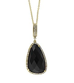 Effy® Eclipse Collection Onyx And 0.27 Ct. T.W. Diamond Pendant In 14k Yellow Gold