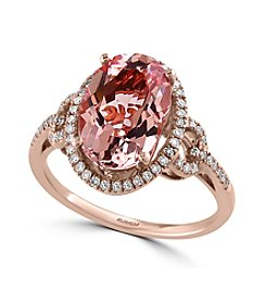 Effy® Blush Collection Morganite And 0.24 Ct. T.W. Diamond Ring In 14K Rose Gold