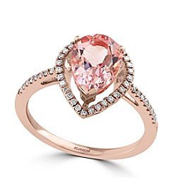 Effy® Blush Collection Morganite And 0.23 Ct. T.W. Diamond Ring In 14K Rose Gold