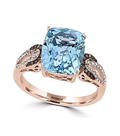 Effy® Aquarius Collection Aquamarine And 0.22 Ct. T.W. Diamond Ring In 14K Rose Gold