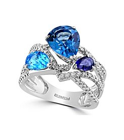 Effy® Ocean Blue Collection Blue Topaz And 0.29 Ct. T.W. Diamond Ring In 14K White Gold