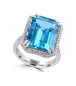 Effy® Ocean Blue Collection Blue Topaz And 0.41 Ct. T.W. Diamond Ring In 14K White Gold