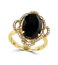Effy® Eclipse Collection Onyx And 0.23 Ct Tw Diamond Ring In 14k Yellow Gold