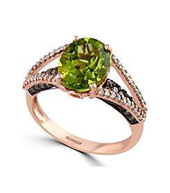 Effy® Olivia Collection Peridot And 0.41 Ct. T.W. Diamond Ring In 14K Rose Gold