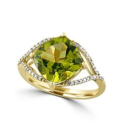 Effy® Olivia Collection Peridot And 0.16 Ct. T.W. Diamond Ring In 14K Yellow Gold
