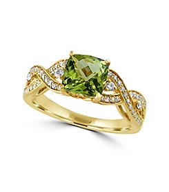 Effy® Olivia Collection Peridot And 0.25 Ct. T.W. Diamond Ring In 14K Yellow Gold