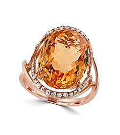 Effy® Sunset Collection Citrine Ring With 0.19 Ct. T.W. Diamonds