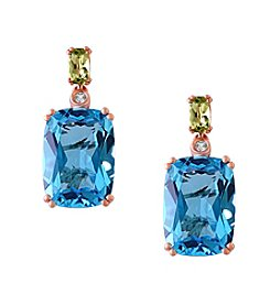 Effy® Ocean Bleu Collection Blue Topaz Earrings In 14k Rose Gold