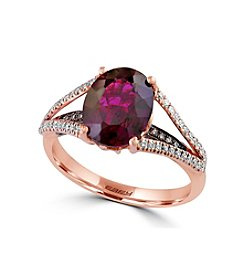 Effy® Bordeaux Collection Rhodolite And 0.29 Ct. T.W. Diamond Ring In 14K Rose Gold