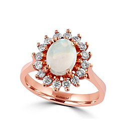 Effy® Aurora Collection Opal And 0.48 Ct. T.W. Diamond Ring In 14K Rose Gold