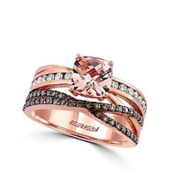 Effy® Blush Collection Morganite And 0.58 Ct. T.W. Diamond Ring In 14K Rose Gold