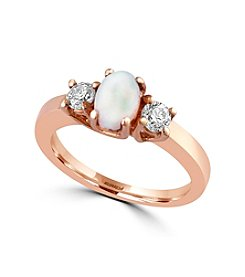 Effy® Aurora Collection Opal And 0.39 Ct. T.W. Diamond Ring In 14K Yellow Gold